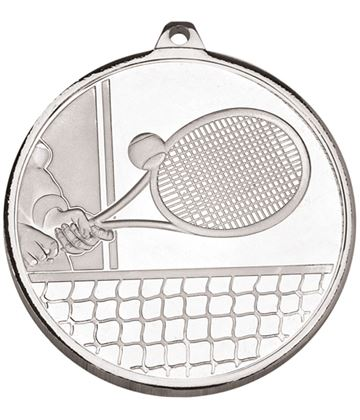 """Frosted Glacier Silver Tennis Medal 50mm (2"""")"""