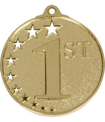 """Gold 1st Place Medal with Stars 52mm (2"""")"""