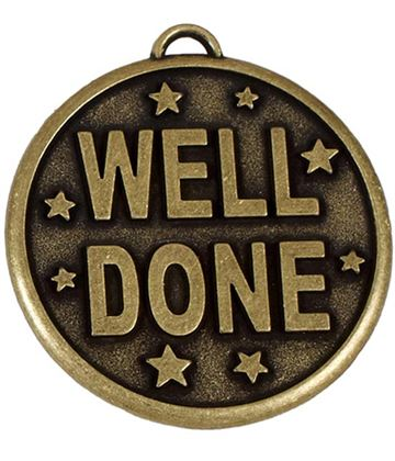 """Gold Well Done Stars Medal 50mm (2"""")"""