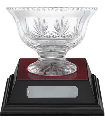"Rushmore Cut Crystal Bowl & Rosewood Base 14.5cm (5.75"")"