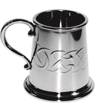 "1/4pt Embossed Celtic Band Children's Sheffield Pewter Tankard 7.5cm (3"")"