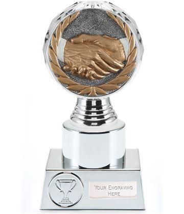 """Handshake Trophy Silver Hemisphere 16.5cm (6.5"""")"""