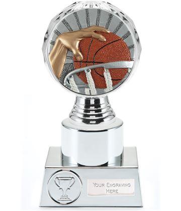 "Basketball Trophy Silver Hemisphere 16.5cm (6.5"")"