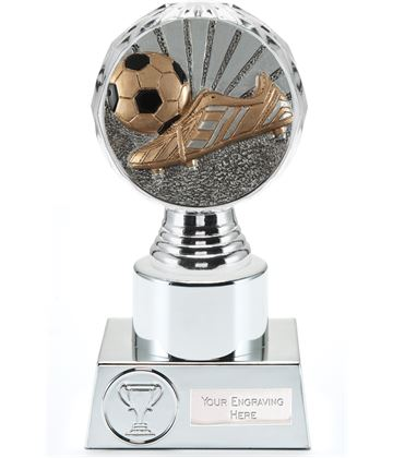 "Boot and Ball Trophy Silver Hemisphere 16.5cm (6.5"")"