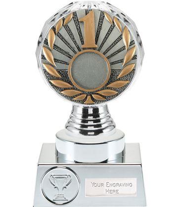 """1st Place Trophy Silver Hemisphere 15cm (6"""")"""