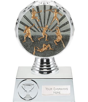 "Track and Field Trophy Silver Hemisphere 13.5cm (5.25"")"