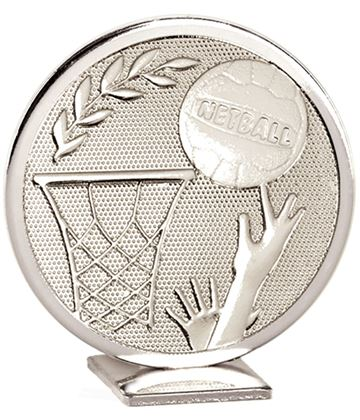 "Silver Global Netball Self Standing Award 60mm (2.25"")"