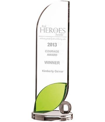 "Optical Crystal Leaf Plaque Glass Award 29cm (11.5"")"