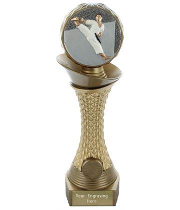 "Karate Trophy Heavyweight Hemisphere Tower Gold & Bronze 28cm (11"")"