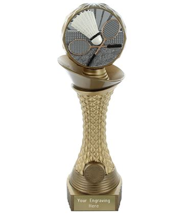 "Badminton Trophy Heavyweight Hemisphere Tower Gold & Bronze 28cm (11"")"