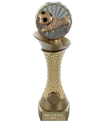 """Football Boot & Ball Trophy Heavyweight Hemisphere Tower Gold & Bronze 28cm (11"""")"""