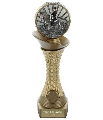 "Dressage Trophy Heavyweight Hemisphere Tower Gold & Bronze 28cm (11"")"