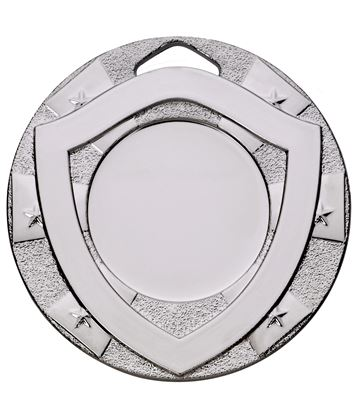 "Silver Mini Shield Medal 50mm (2"")"