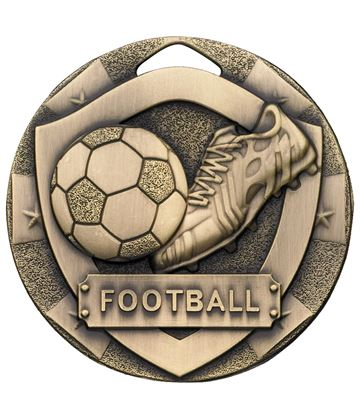 "Bronze Mini Shield Football Medal 50mm (2"")"
