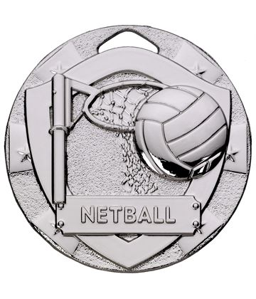 "Silver Mini Shield Netball Medal 50mm (2"")"