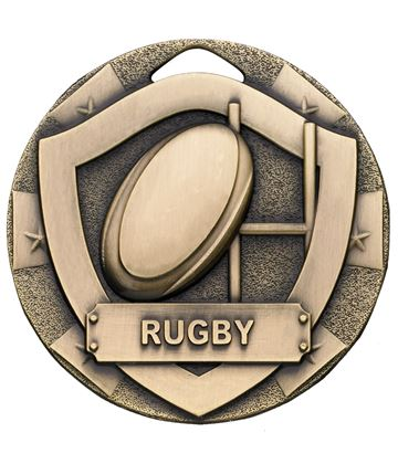 "Bronze Mini Shield Rugby Medal 50mm (2"")"
