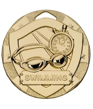 "Gold Mini Shield Swimming Medal 50mm (2"")"