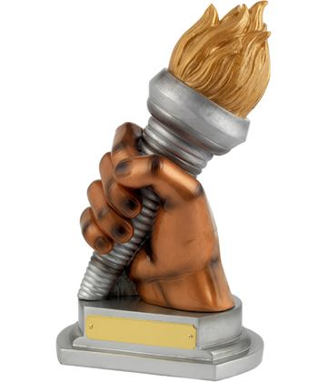 """Gold/Silver Resin Flaming Torch Achievement Trophy 23.5cm (9.25"""")"""