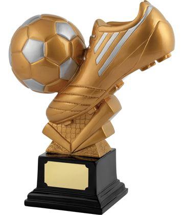 "Satin Gold Resin Football & Boot Trophy 25cm (9.75"")"