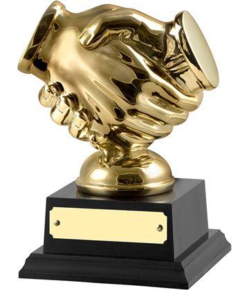"""Gold Finished Handshake Trophy on Black Base 14cm (5.5"""")"""