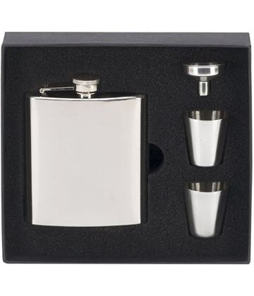 "Mirror Finished Stainless Steel 6oz Hip Flask with Cups & Funnel 12cm (4.75"")"