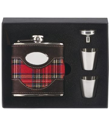 "Tartan & Leather Stainless Steel 6oz Hip Flask with Cups & Funnel 12cm (4.75"")"