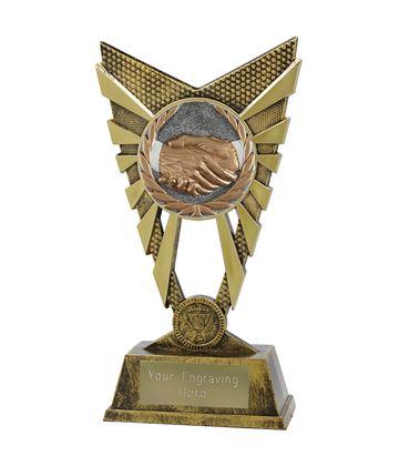 """Valiant Handshake Gold Trophy 23cm (9"""")"""