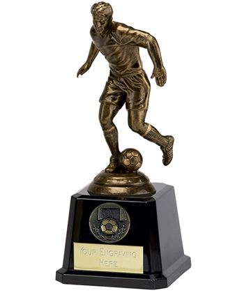 "Antique Gold Icon Footballer on Large Black Base 15cm (6"")"
