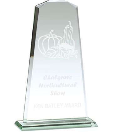"Towering Flair Jade Glass Award 27cm (10.5"")"