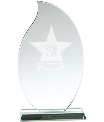 "Flaming Jade Glass Plaque Award 23cm (9"")"