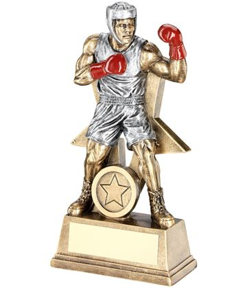 "Male Boxing Figure Trophy Antique Gold & Silver 23cm (9"")"