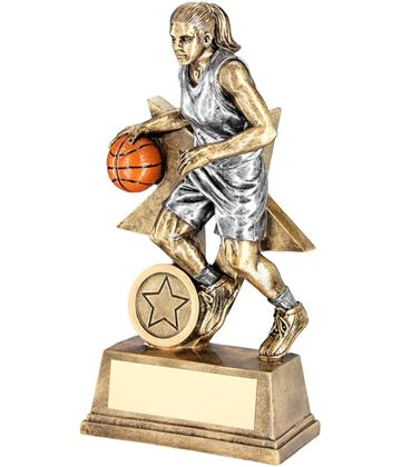 "Female Action Basketball Figure Trophy 15cm (6"")"