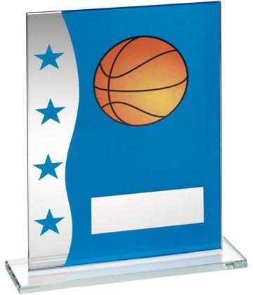 "Basketball Blue & Silver Star Printed Glass Plaque Award 20.5cm (8"")"