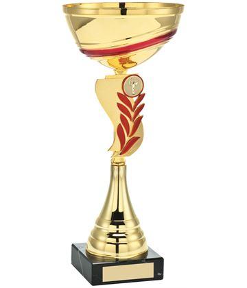 "Gold Red Laurel Wreath Stem Trophy Cup 32.5cm (12.75"")"