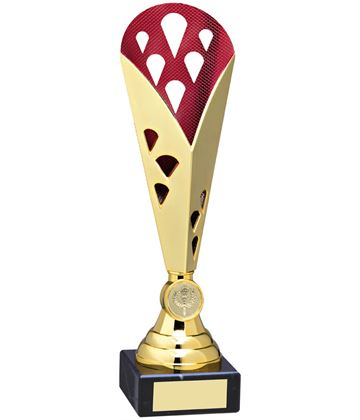 "Cone Trophy Cup On Marble Base Gold & Red Plastic 26.5cm (10.5"")"