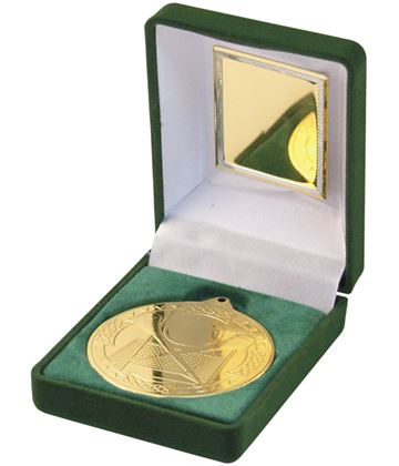 "Gold Hurling Medal 50mm (2"") in Green Velvet Box"