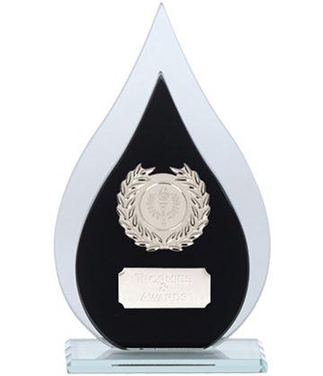 "Laurel Wreath Flame Glass Plaque Award Black & Silver 19cm (7.5"")"