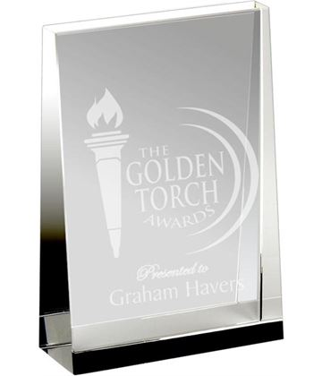 "Heavyweight Optical Crystal Guardian Wedge Plaque Award 12.5cm (5"")"