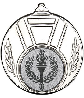"Silver Ribbon And Leaf Medal 50mm (2"")"