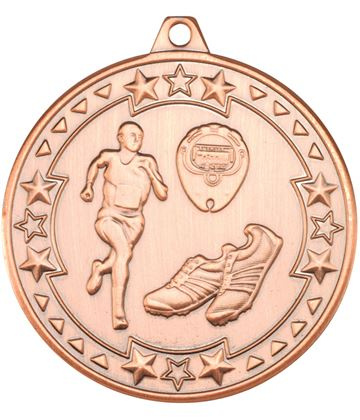 "Bronze Tri Star Running Medal 50mm (2"")"