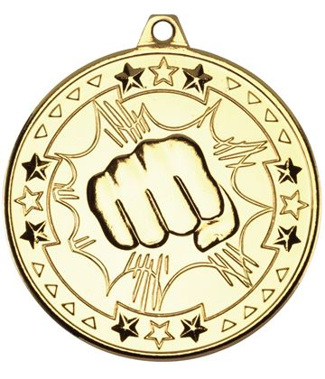 "Gold Tri Star Martial Arts Medal 50mm (2"")"