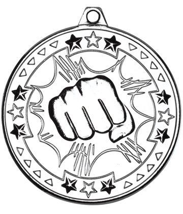 "Silver Tri Star Martial Arts Medal 50mm (2"")"