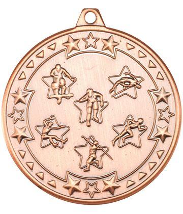 "Bronze Tri Star Multi Athletics Medal 50mm (2"")"