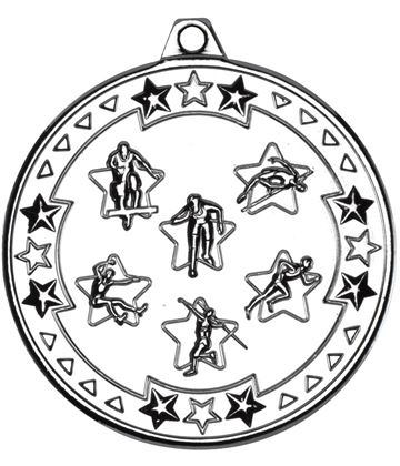 "Silver Tri Star Multi Athletics Medal 50mm (2"")"