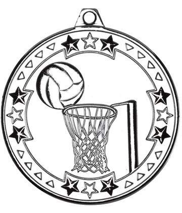 "Silver Tri Star Netball Medal 50mm (2"")"