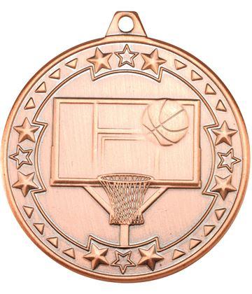 "Bronze Tri Star Basketball Medal 50mm (2"")"
