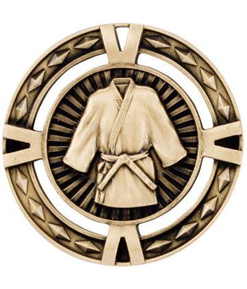 "Gold Diamond Pattern Martial Arts Medal 60mm (2.25"")"