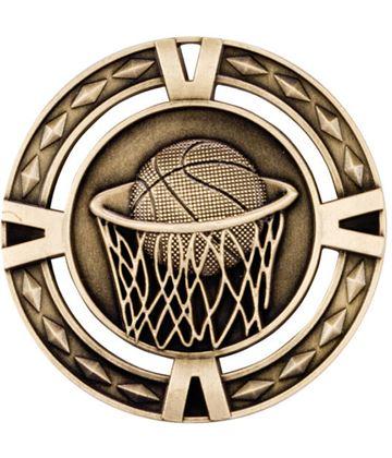 "Gold Diamond Pattern Basketball Medal 60mm (2.25"")"