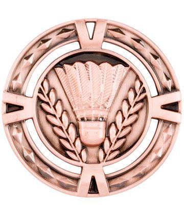 "Bronze Diamond Pattern Badminton Medal 60mm (2.25"")"