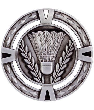 "Silver Diamond Pattern Badminton Medal 60mm (2.25"")"